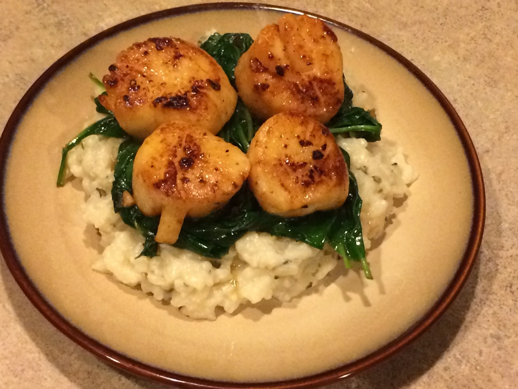 Seared Scallops over Wilted Spinach and Parmesan Risotto ...